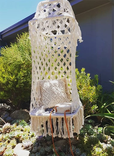 Bohemian Macrame Hanging Chair for Hire in Cape Town