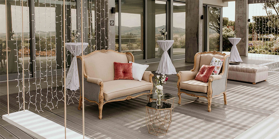Two Shades French Couch and Arm Chair for Hire in Cape Town