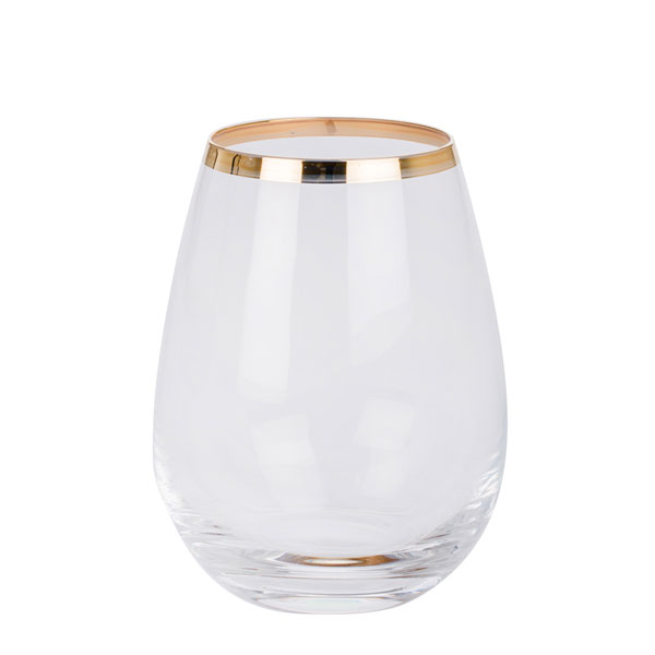 Water Glass Gold Rimmed -